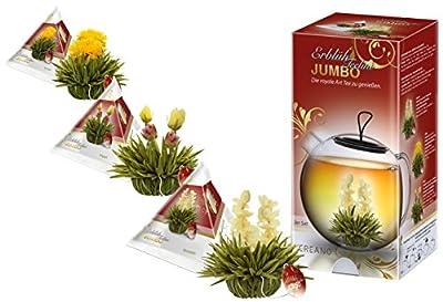 Mix de fleurs de thé Creano en taille XXL, coffret cadeau - thé blanc (3 sortes différentes) avec mange, vanille, citron, jasmin