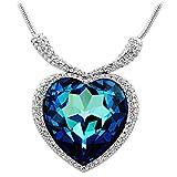 Chaomingzhen weiß Vergoldete Charm Blau Grosse Herz des Ozeans Anhänger Halskette Damen Kette