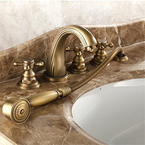Wasserhahn Teile Badewanne (QINLEI europäischen stil kupfer heiße und kalte badewanne wasserhahn fünf sätze von bronze - wanne teilen fünf stück duschen wasserhahn)