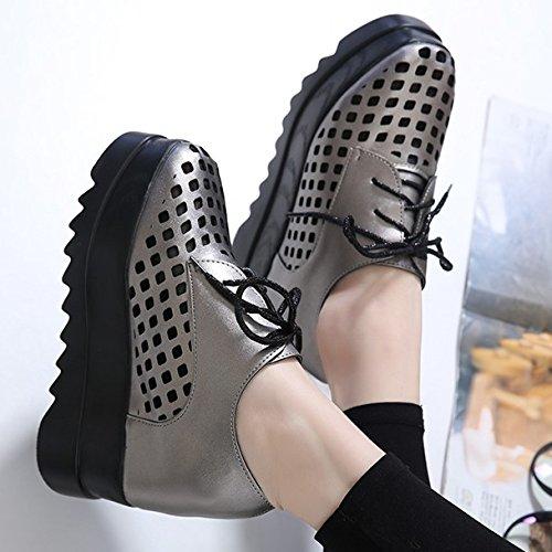 Gtvernh-au Printemps De La Pente Des Chaussures De 7,5 Cm Gris Avec Plus Épais Chaussures Imperméables À L'eau Femme Super Lacets À Talons Hauts, 37 Trente-sept