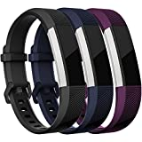 HUMENN For Fitbit Alta HR Strap, Adjustable Replacement Sport Accessory Wristband for Fitbit Alta/Alta HR Fitness Tracker Large #3 Black+Blue+Plum