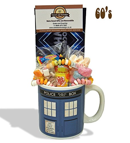 Dr Who Tardis Mug with a Time Travelling Selection of 1960's Sweets