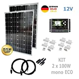 VIASOLAR 200W 12V Monokristallin Solaranlage ECO Solarmodul 2X100W deutsche Solarzellen