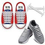 Homar sin corbata Cordones de zapatos para niños y adultos Impermeables cordones de zapatos de atletismo atlética de silicona elástico plano con multicolor de los zapatos del tablero Sneaker boots (Kid Size White)