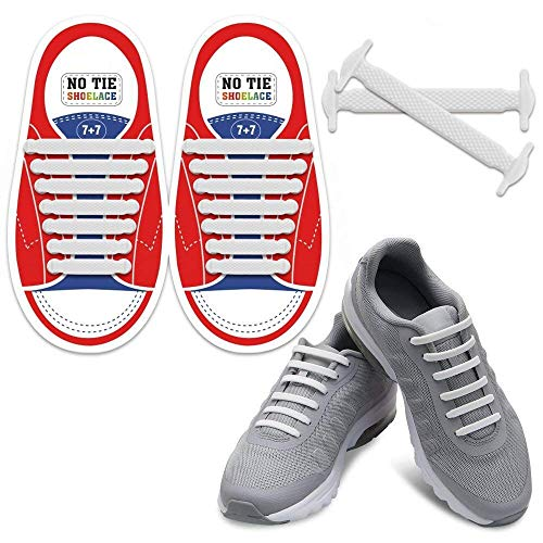 Homar no tie lacci per scarpe per bambini e adulti - impermeabile in silicone elastico piatto laces athletic scarpa da corsa con multicolore per scarpe sneakerboots bordo e scarpe casual (kid size white)