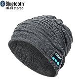 CoCo Fashion drahtlose Bluetooth-Mütze mit Musik phone Freisprech -Stereo-Kopfhörer-Kopfhörer-Lautsprecher-Mikrofon für Fitness Outdoor Sport Wandern Weihnachtsgeschenke (Einheitsgröße, MZ012_Grau)