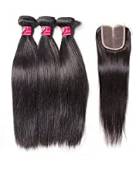 SAOMAI 4pcs lot Peruvian Virgin Hair Silky Straight 3 Hair Bundles with Middle Part Swiss Lace Closure 6A Unprocessed Remy Hair Weave Wefts Extension 3.53oz per Bundle (101010+10) by SAOMAI
