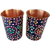 Rastogi Handicrafts Pure Copper Glass Hand Painting Art Work Outer Side Set Of Two Glass