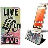 360° Funda Smartphone para Haier Leisure L56, 'live the life you love' | Wallet case flip cover caja bolsa Caso Monedero BookStyle - K-S-Trade