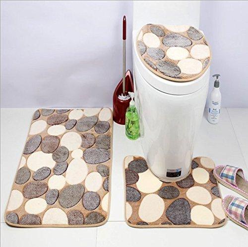 Preisvergleich Produktbild Badematten Set, goodchanceuk 3/Set Stein Muster rutschfeste Badezimmer Teppich (Badteppich, Toilettenvorleger, WC-Sitz Cover)