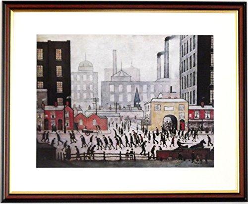 L S Lowry Spezialität Print/Bild-Aus Der Mühle-auf einem Leinen Struktur Medium, Walnut Finish Frame With Soft White Mount And large Image, 20 x 16inch -