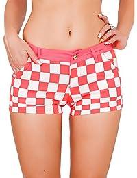 24brands Damen Skinny Shorts Hot Pants mit Karomuster in Neonfarben - 2751