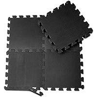 [Patrocinado]Esterilla puzzle de fitness – 18 losas de goma espuma + bordes | Alfombrilla protectora expandible | Protección para el suelo | Para máquinas de deporte y gimnasios sobre el piso | Fácil de limpiar