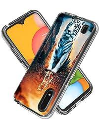 FAWUMAN Funda para Samsung Galaxy A01,Transparente [Anti-Choque] [Anti-arañazos] Silicona Suave TPU Bumper y Duro PC Dos en Uno Protectora Funda con Tarjeta de Dibujos Animados (Gato de reflexión)