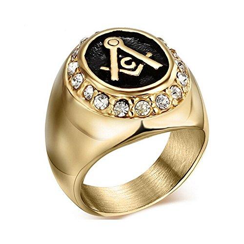 5a8a27dd585 BOBIJOO Jewelry – Bague Homme Chevalière Acier Inoxydable 316L Doré Or Fin  Strass Franc-Maçonnerie