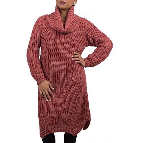 Primtex Robe pull laine col roulé en grosse maille pour femme