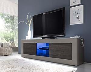 Matelpro-Meuble TV design 2 portes avec éclairage coloris beige mat/wengé Geralda