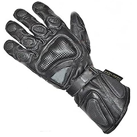 New Professional Heavy Duty Motorcycle & Motorbike Genuine Cowhide Waterproof Leather Gloves Collection Zeus Black Medium