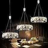 3 Licht Lange Scheibe LED Kristall Kronleuchter Moderne Ring Warm Licht Restaurant Pendelleuchte