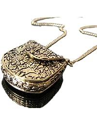 Bold N Elegant Antique Gold Vintage Carved Unique Bag Shape Locket Necklace Long Sweater Chain Openable Photo...