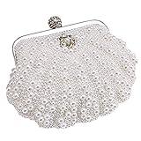 MMYOMI Vintage Floral Perlen Clutch Hochzeit Prom Bag Braut Damen Crossbody Abend Handtasche (Weiß 2)