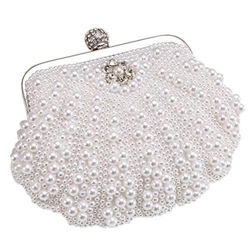 MMYOMI Vintage Floral Perlen Clutch Hochzeit Prom Bag Braut Damen Crossbody Abend Handtasche (Weiß 2) (Damen-braut-abend Taschen)