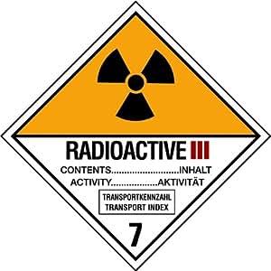 Aufkleber Radioaktive Stoffe Katergorie III Gelb Nr. 7c 30mm