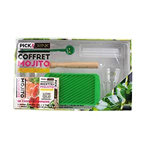 PICK AND DRINK KDO8509 Coffret Mojito Complet Bois Vert 19,20 x 10,60 x 0,50 cm