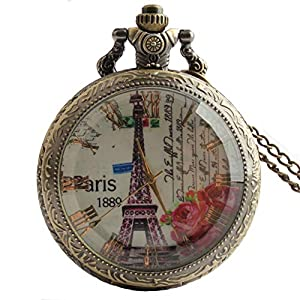 Joielavie Taschenuhr Paris 1889 Eiffelturm Rose Floer Muster römische Ziffern Transparent Glas Streifen Gravur Quarz Uhrwerk Calmshell Klassische Legierung Halskette Geschenk für Herren Damen