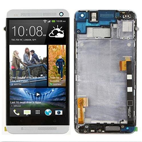 HTC One 801E M7 Display im Komplettset LCD Ersatz Für Touchscreen Glas Reparatur (Silber + Rahmen) (Htc Digitizer Ersatz Bildschirm)