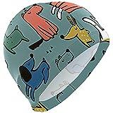 Like Moon Swim Cap Cane Cartoon Mens Spandex Solido Nuoto Cranio Cappello Copricapo Orecchie Cuffia da Bagno Confortevole per Sport Acquatici, 3D Design ergonomico