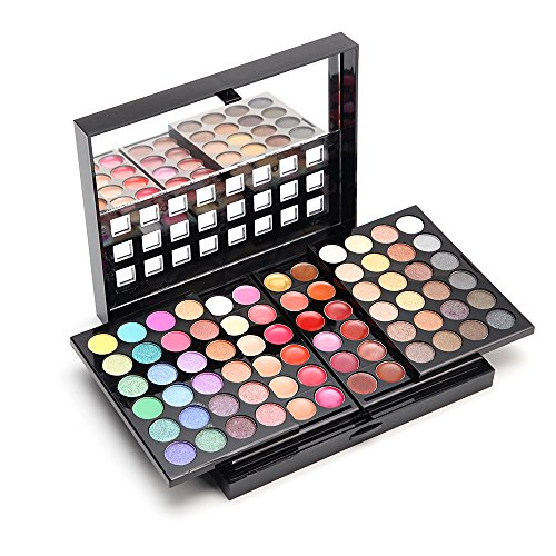Ubor 78 Color Eyeshadow Palette Concealer Kit Beauty Makeup Set Cosmetic Lip Gloss Blush Shading Powder (8 Black Brushes)