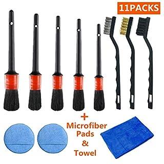 Mioke Autoreinigungs-Set - mit Wachs-Schwamm-Pads & Drahtbürste & Mikrofasertuch - für Auto-Reinigungsräder, Armaturenbrett, Innen- und Außenbereich, Leder, Belüftungsöffnungen, Embleme