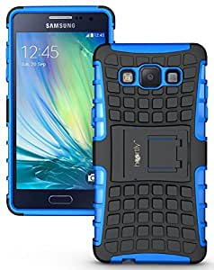Heartly Flip Kick Stand Spider Hard Dual Rugged Armor Hybrid Bumper Back Case Cover For Samsung Galaxy A5 2015 SM-A500F - Power Blue