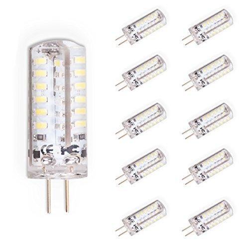 Kertou 10er G4 3W LED Kertou 10er G4 3W LED Birne Lampe Leuchtmittel Glühbirne Stiftsockel DC 12V Licht Kaltweiß [Energieklasse A+] (3w Led-licht)