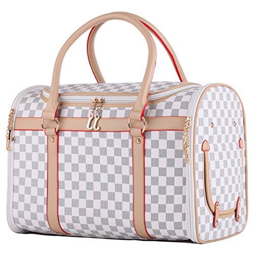 Groß Transporttasche Tragetasche für kleine Hunde bis 5kg Hundetasche Tragebox Hundebox Katzenbox Chihuahua 43x30x23cm PC19 (weiß)