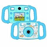 DROGRACE Kinderkamera Zweifachkamera Digitalkamera 1080P HD Kamera, CE FCC Zertifiziert, RoHS-konform, 4-fach digitaler Zoom, 2.0 Zoll LCD, Flash Lights für Kinder Geburtstagsgeschenk Urlaubsbegleitert - Blau ( (EU Stock)