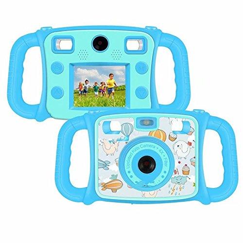 DROGRACE Kinderkamera Zweifachkamera Digitalkamera 1080P HD Kamera, CE FCC Zertifiziert, RoHS-konform, 4-fach digitaler Zoom, 2.0 Zoll LCD, Flash Lights für Kinder Geburtstagsgeschenk Urlaubsbegleitert - Blau (Europa auf Lager)
