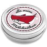 Milchzahndose | Haifisch Henri | für Mädchen und Jungen | Geschenk zur Einschulung, Taufe, Geburt | Zahnfee Dose aus Metall für Wackelzahn (Rot)