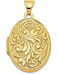 14k Yellow Gold Love You Always Reversible Photo Pendant Charm Locket Chain Necklace That Holds Pictures Oval Fine Jewelry For Women Gift Set