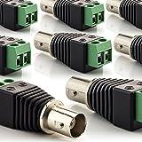 zanasta [8 Stück] BNC Buchse Koaxial Kupplung Terminalblock Connector zu 2 Pol Adapter, Kabel Verbinder mit Schraubklemme, Schwarz-Grün