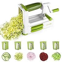 Spiralizer Vegetable Slicer 5 Blades Zoodle Maker with Anti Slip Suction Pad Veggie Spiralizers Spiral Noodle Spaghetti Pasta Maker
