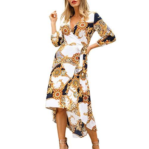 Damen Slim Fit Kleid mit V-Neck,Pottoa Frauen Elegant Freizeitkleid - Dreiviertel-Ärmel-Kleid mit Drucken - Täglich Party, Club Kleid -