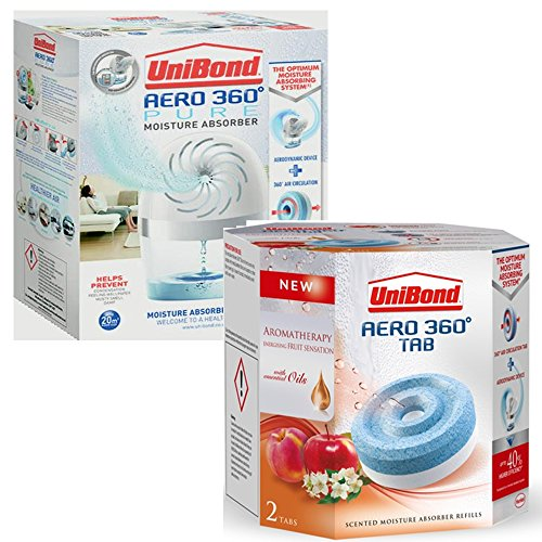 Unibond Aero 360 Pure d'absorbeur d'humidité Appareil (2 x 450 g Fruits Sensations Recharge + 1 Appareil)
