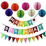 JUSLIN Alles Gute zum Geburtstag Dekoration Banner und 8 Bunte Papier Wabenbälle für Geburtstag Party Dekoration