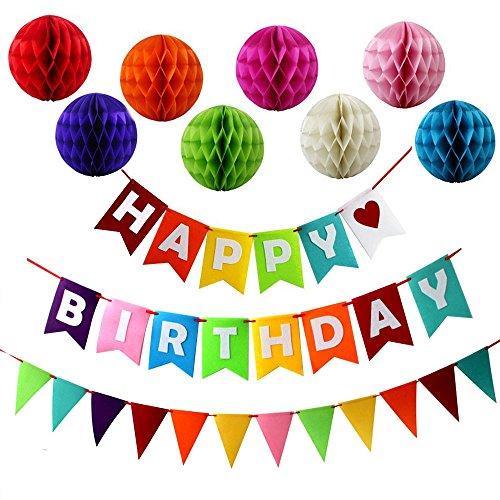 JUSLIN Alles Gute zum Geburtstag Dekoration Banner und 8 Bunte Papier Wabenbälle für Geburtstag Party (Dekoration Party Eine Für)