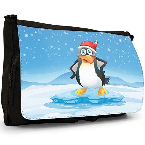Joyful Christmas Time in neve Grande borsa a tracolla Messenger Tela Nera, scuola/Borsa Per Laptop Cheery Penguin In Santa Hat
