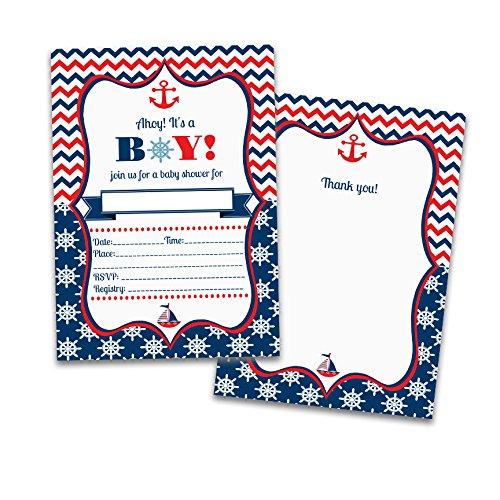 Kate 's Craft Store 25Füllen Baby Boy Dusche Einladungen 25passenden Thank You Karten 50Umschläge. Nautisches. Marine. Coastal.