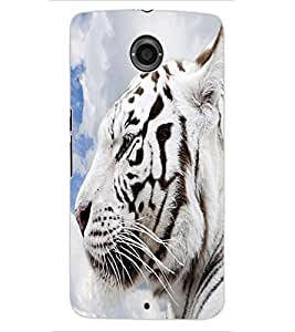 ColourCraft White Tiger Look Design Back Case Cover for MOTOROLA GOOGLE NEXUS 6