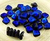 20pcs Opak Jet Schwarz Blau Azure Halb-Glanz-Flach Gewellten Quadrat-Chip Waschmaschine Tschechische Glas-Perlen 10mm x 4mm